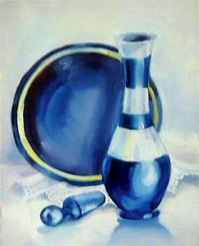 study in Blue 2 - oil painting on oil paper