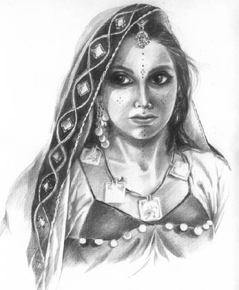 Pencil drawing - Tattoos. Oil painting, watercolor indian art, niloufer.com
