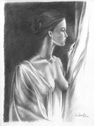 nude at the window - pencil drawing