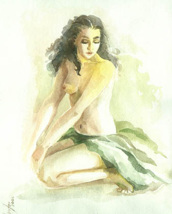 Nude in green - watercolor